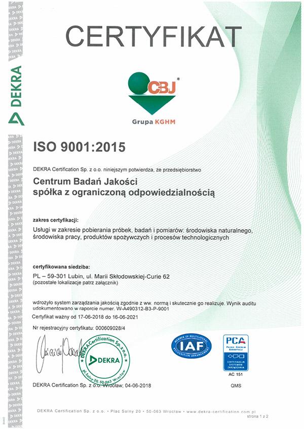 Dekra Certyfikation Sp. z o.o. potwierdziła spełnienie przez CBJ sp. z o.o. wymagań normy ISO 9001:2015